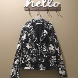 Floral pleather jacket, just fab floral jacket